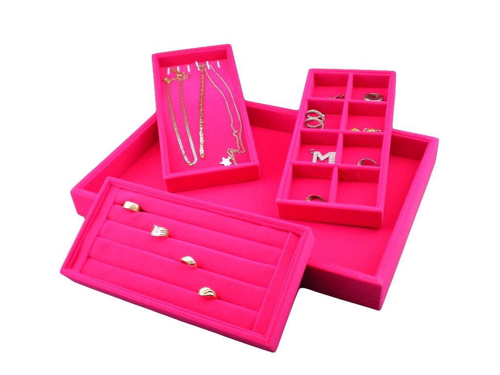Plato na prstýnky, náramky, naušnice 4v1 růžový