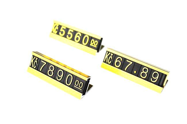 Plastové cenovky hliník zlaté sada Kč, EURO