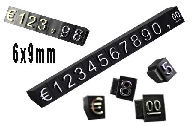 Plastové cenovky stříbrný prolis  6x9mm 20x řada  EURO