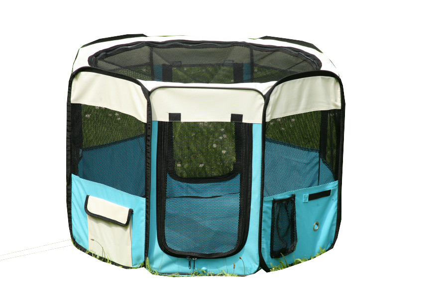 Klec pro psa, látková přepravka, výběh, vel. L, světle modrá (R 115X)