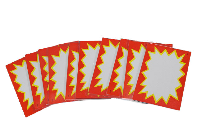 Cenovky plastové, cenovková karta, set 10ks