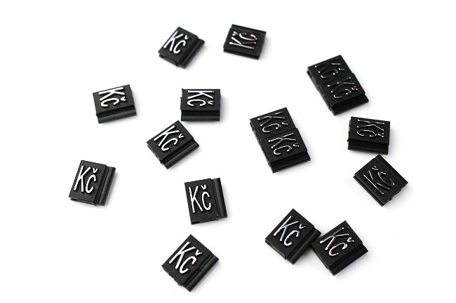 Plastové 3D cenovky náhradní znak Kč stříbrné