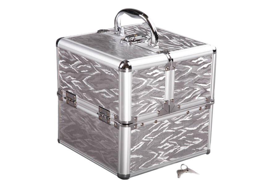 Kosmetický kufřík, šperkovnice, kufr, čtvercový, Stříbrný