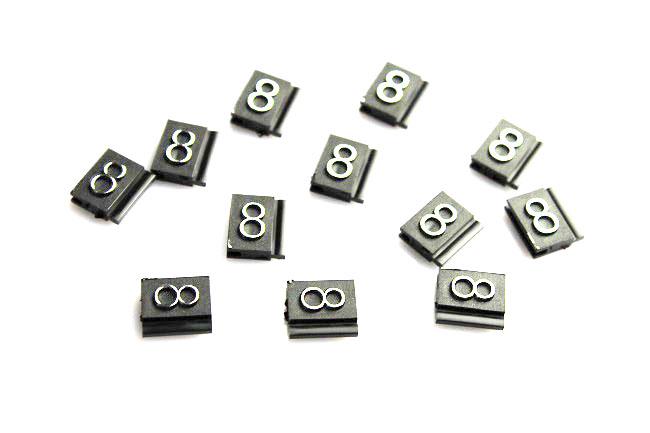 Plastové 3D cenovky náhradní znak 8 stříbrné