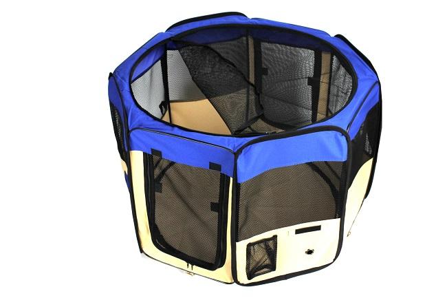 Klec pro psa, látková přepravka, výběh, modrá (9BLU)
