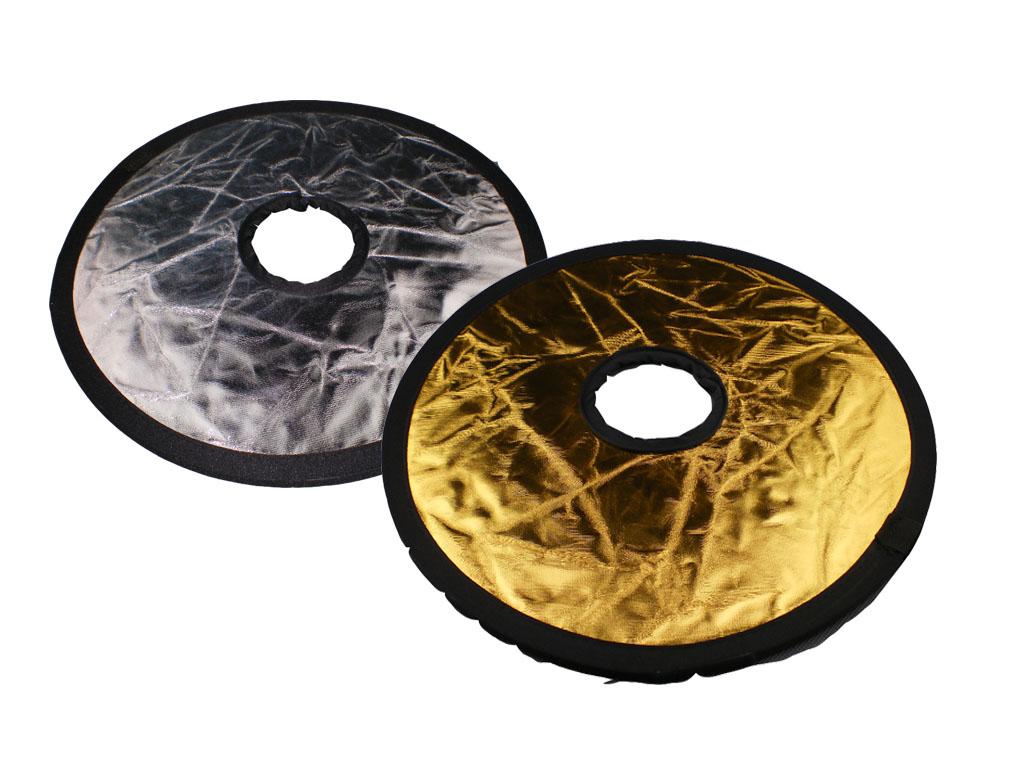 Odrazová deska, odrazná deska  2 v 1 zlatá/stříbrná průměr 30cm
